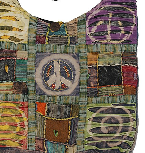 Recycled peace floral Bag Hobo Bohemian Peace KayJayStyles Crossbody Patch Nepal qx1Opgw7E