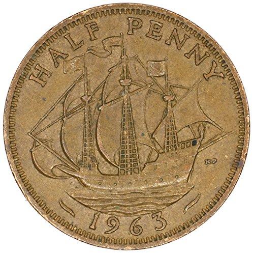 1963 UK Great Britain Elizabeth II Bronze Halfpenny Good