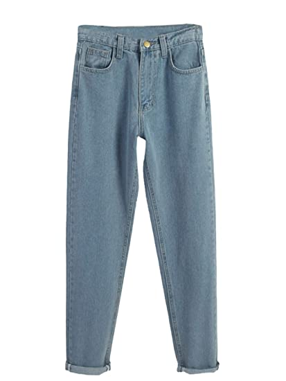 c3256c59a6 SheIn Women's Solid High Waist Denim Pants Pull on Straight Leg Jeans at  Amazon Women's Jeans store