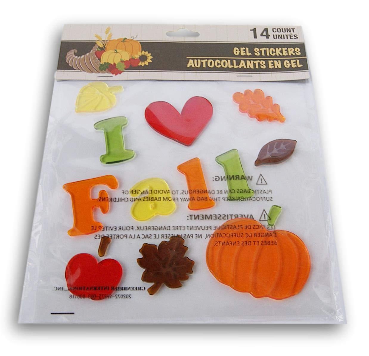 Autumn Fall Themed Gel Cling Set - I Heart Fall - 14 Piece Greenbrier International Inc