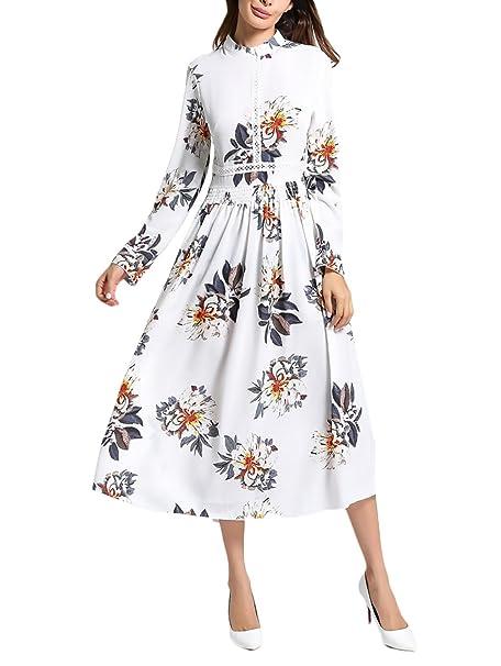Vestidos Mujer De Fiesta Largos Casual Vintage Flores Impresa Bohemio Estilo Etnica Elegantes Moda Otoño Invierno