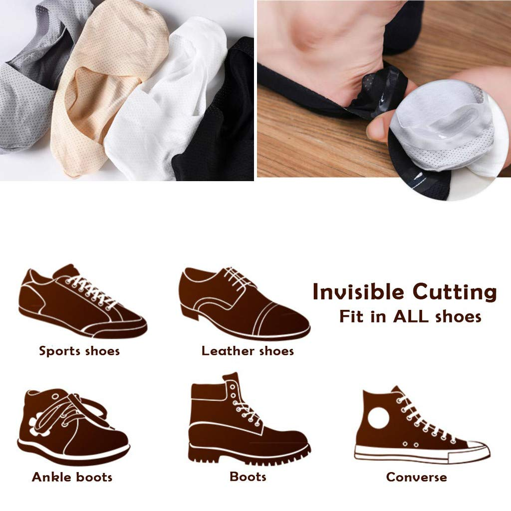 Transser 3 Packs Ice Breathable No Show Odor-Resistant Invisible Sock Casual Non-slip Grip Liner Low Cut Ankle Boat Socks for Men /& Women White