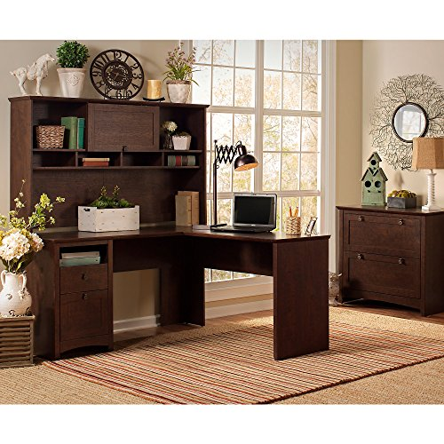 (Buena Vista L Shaped Desk with Hutch and Lateral File Cabinet)
