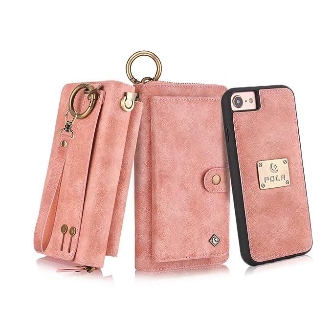 sports shoes 2851f a886e Petocase Compatible iPhone 8 Case/iPhone 7 Wallet Case, Multi-Function  Zipper Purse Detachable Magnetic Wristlet 13 Card Slots & 4 Cash Protective  ...