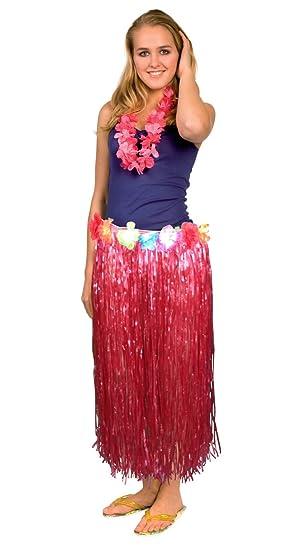 Falda hawaiana roja adulto Talla única: Amazon.es: Juguetes y juegos