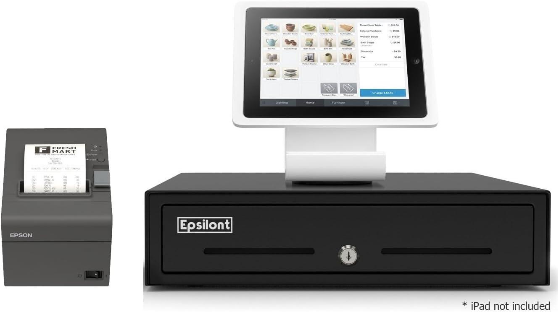 "SQUARE POS REGISTER HARDWARE KIT- Stand for iPad 10.2"" & 10.5"", USB Direct Thermal Printer and Epsilont Cash Drawer (Black)"