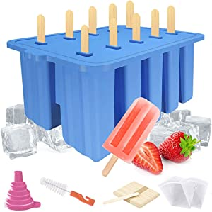 Silicone Popsicle Molds,Food Grade Homemade Popsicle Mold,BPA Free Frozen Ice Popsicle Maker, Ice Cream Mold, Ice Pop Molds Maker with 50 Popsicle Sticks,50 Popsicle Bags, Funnel,Brush (Blue)