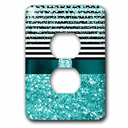 3dRose Anne Marie Baugh - Glitter and Chic - Diamond Stripes, Aqua Digital Glitter and Diamond Design - Light Switch Covers - 2 plug outlet cover (lsp_267803_6)