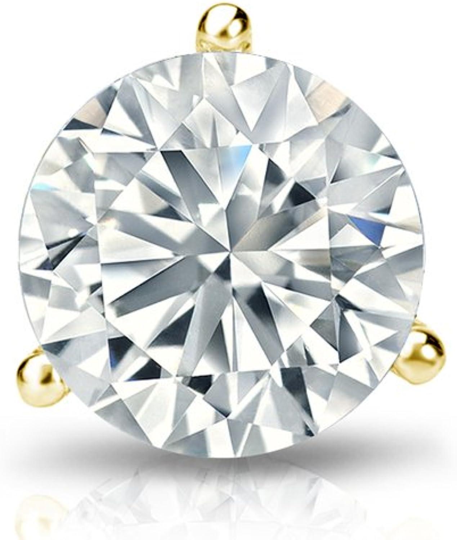 1//8-1ct,H-I,I1-I2 14k White Gold 3-Prong Martini Round Diamond Men SINGLE STUD Earring Push-Back