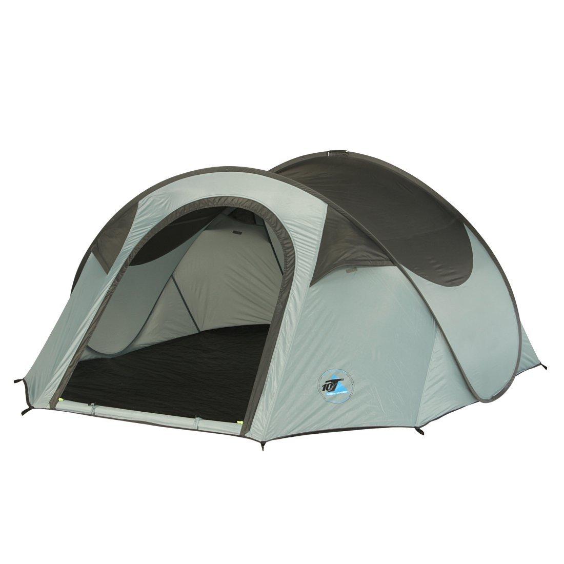 10T Camping-Zelt Colac 3 Pop-Up Wurfzelt mit Schlafbereich für 3 Personen Automatik-Zelt mit eingenähter Bodenwanne, Dauerbelüftung, wasserdicht mit 2000mm Wassersäule