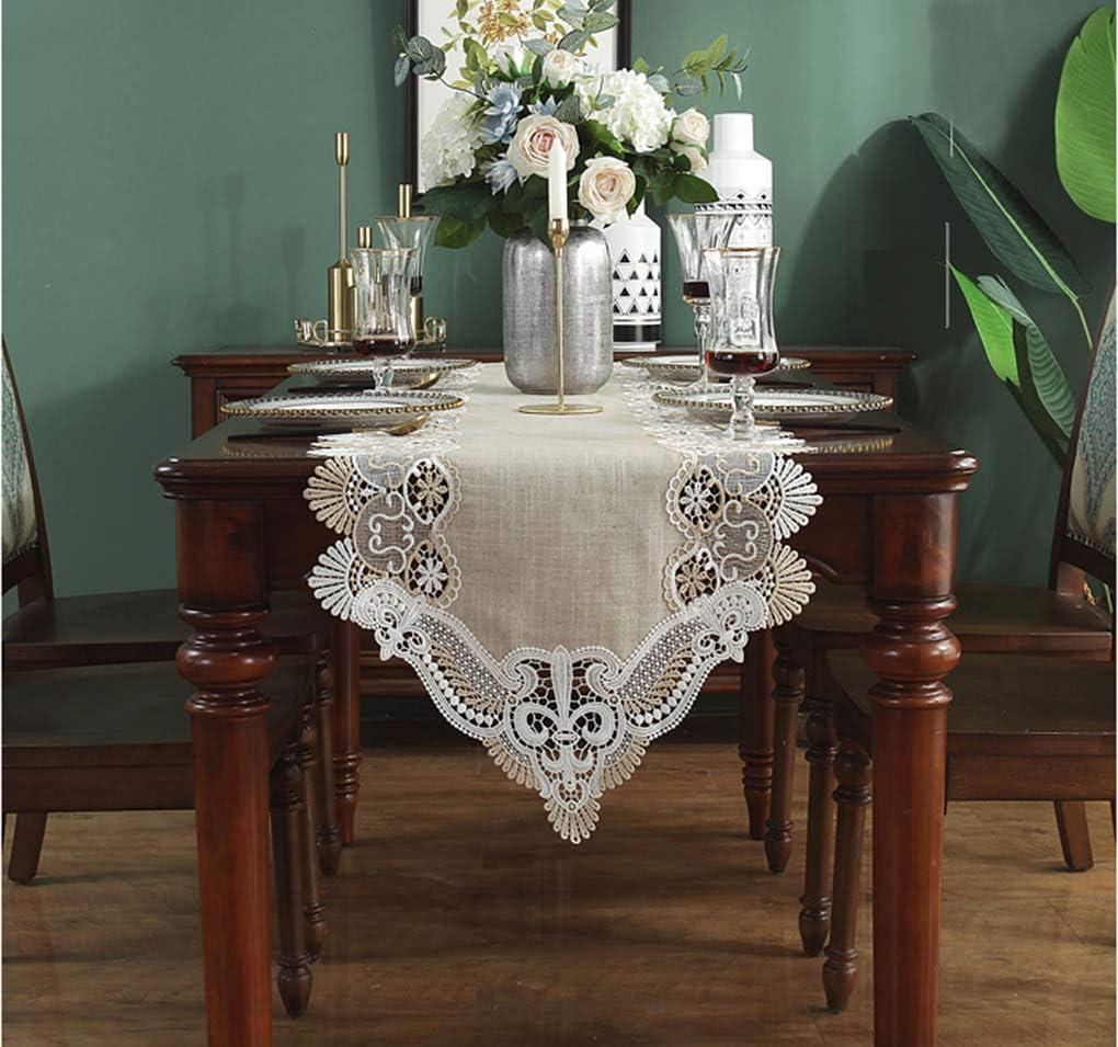 120CM CIEEIN CIEHT Chemin de Table Drapeau de lit D/écoration De F/ête Broderie en Dentelle Style Nordique Beige 50