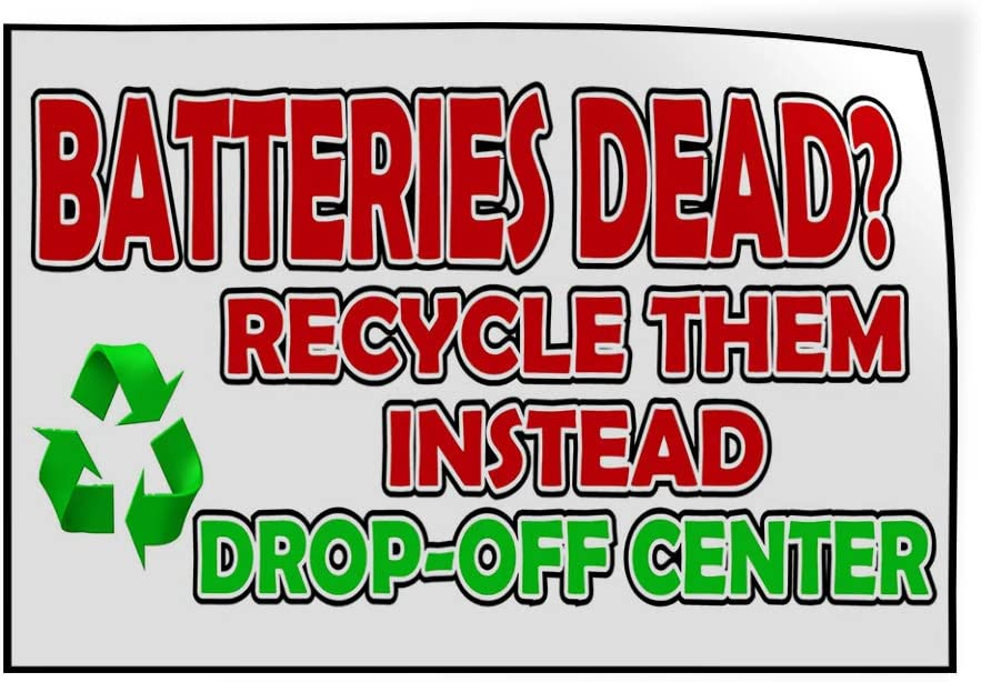 27inx18in Set of 5 Decal Sticker Multiple Sizes Batteries Dead White Red Green Business Dead Batteries Outdoor Store Sign White