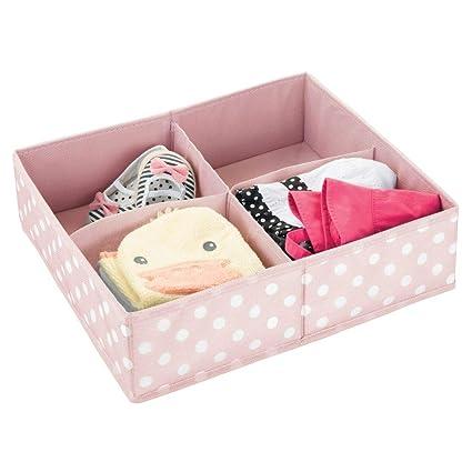 mDesign Caja de almacenaje para habitación infantil o baño – Cesta organizadora con cuatro compartimentos –
