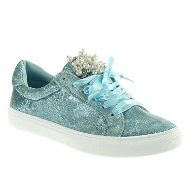 Angkorly Damen Schuhe Sneaker Tennis Schnürsenkel aus Satin Perle Schmuck Flache Ferse 2.5 cm