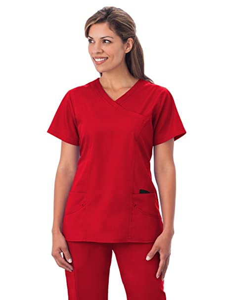 ddcdf132bba Amazon.com: Fundamentals 14371 Women's Modern Wrap 5-Pocket Scrub Top Red  XL: Clothing