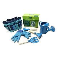 Dedeka 6 PCS/Set Children's Garden Tool Set Garden Outdoor Metal Shovel Gloves Kettle Set Canvas Tote/Shovel/ Rake/Fork/Watering Can/Kid-Sized Gloves