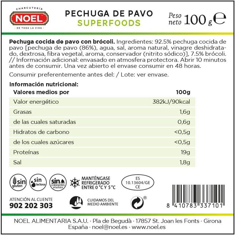 Noel Superfoods, Fiambre de pavo (Brócoli) - 100 gr.: Amazon ...