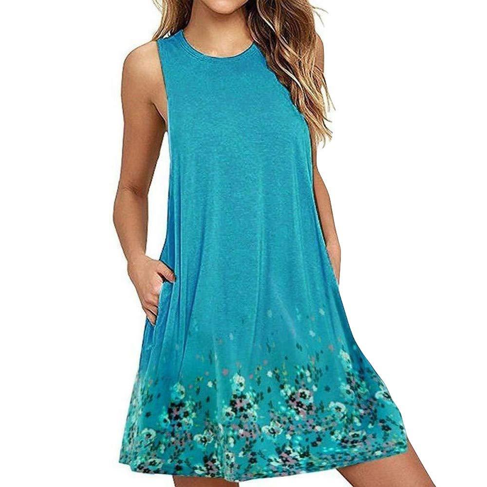 Women Dresses, Women's Casual Dress Women Ladies Casual Floral Printed Boho T-Shirt Dresses with Pockets Mini Dress Sky Blue