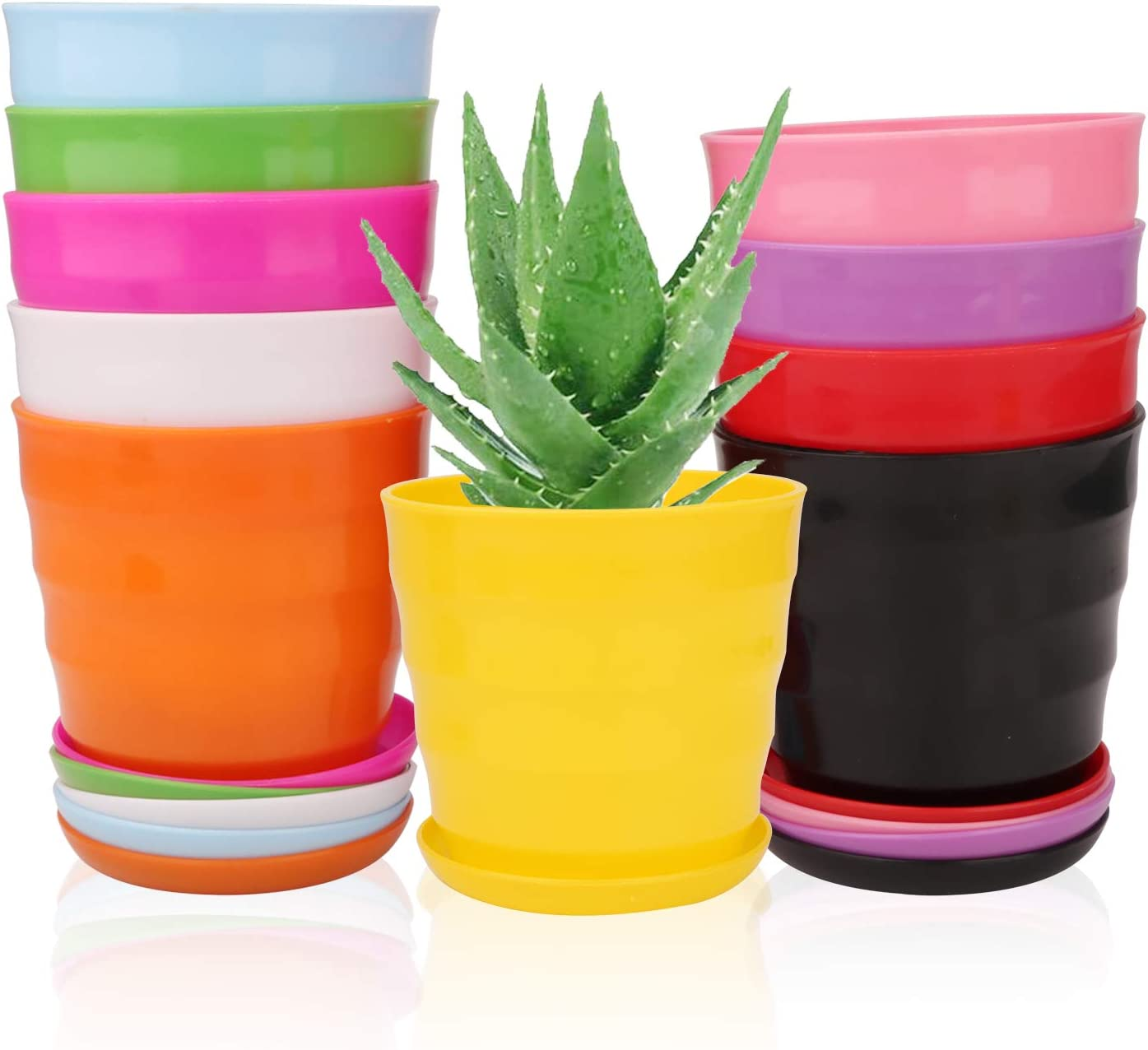 5 Inches Plastic Plant Pots with Drainage Holes, Ufrount Gardening Containers, Flower Pots, Perfect for Garden/Yard/Kitchen/Flower/Succulents - Set of 10 (10 Colors, Thread Shape)