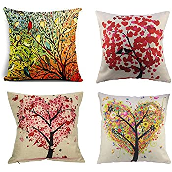 BPFY Birds And Trees Pillow Covers Set Of 4 Cotton Linen Sofa Home Decor  Throw Pillow