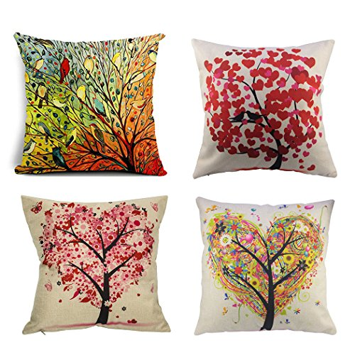 BPFY Birds and Trees Pillow Covers Set of 4 Cotton Linen Sof
