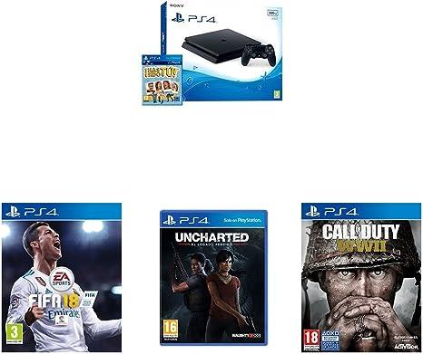 PlayStation 4 (PS4) - Consola De 500 GB, Color Negro + Voucher ¡Has Sido Tú! + FIFA 18 - Edición Estándar + Call Of Duty WWII + Uncharted: El Legado Perdido: Amazon.es: Videojuegos