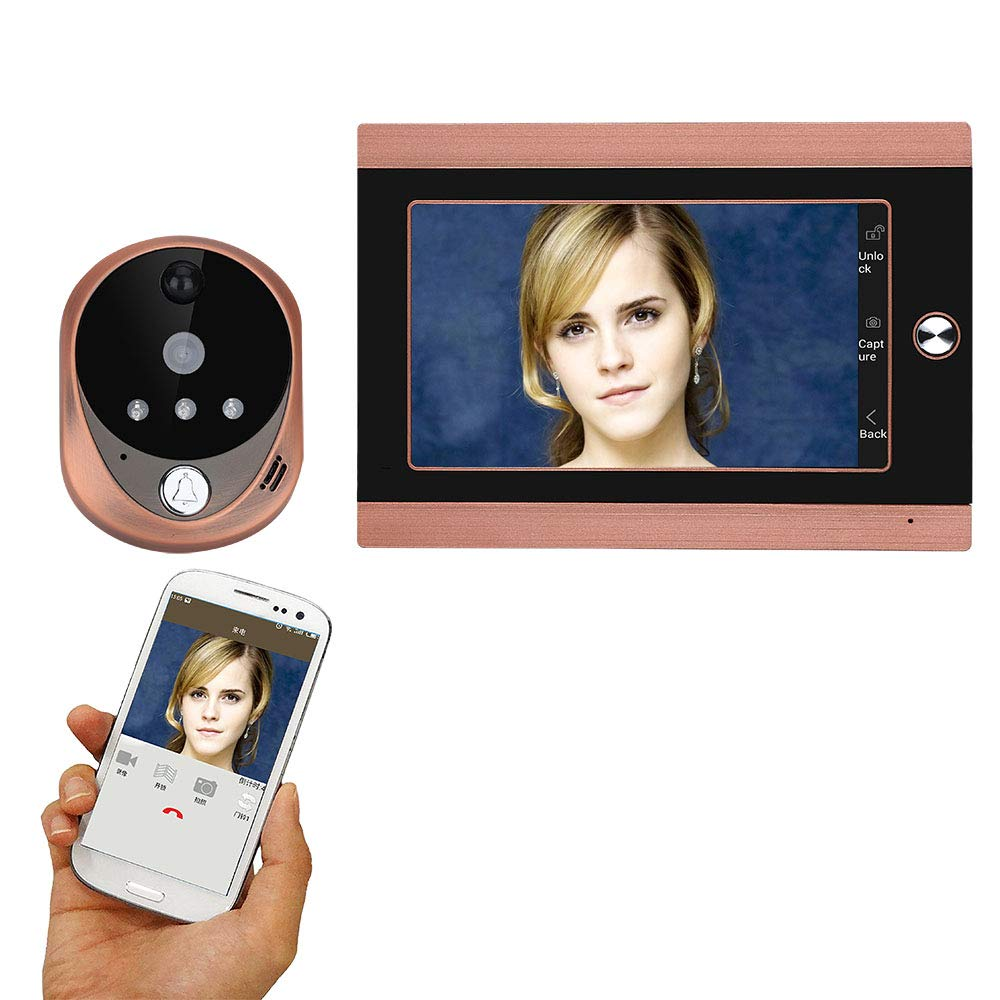 TONGTONG Smart doorbell HD 720P Wireless Digital Peephole Door Viewer with Intercom or take Picture or take Video 7 inch