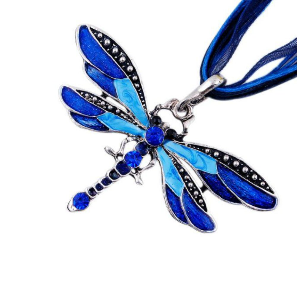 AKOAK Fashion Creative Bohemian Jewelry Ethnic Multi-layer Chain Colorful Enamel Dragonfly Pendant Necklace(Blue) 4336831829
