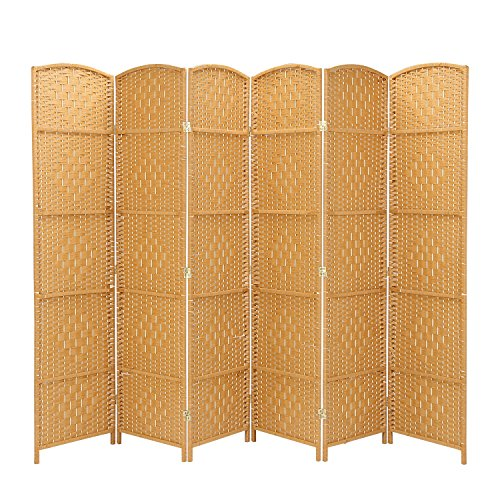 RHF 6 ft. Tall-Extra Wide-Diamond Weave Fiber Room Divider,Double Hinged,6 Panel Room Divider/Screen, Room Dividers and Folding Privacy Screens 6 Panel, Freestanding Room Dividers-Light Beige, 6 Panel