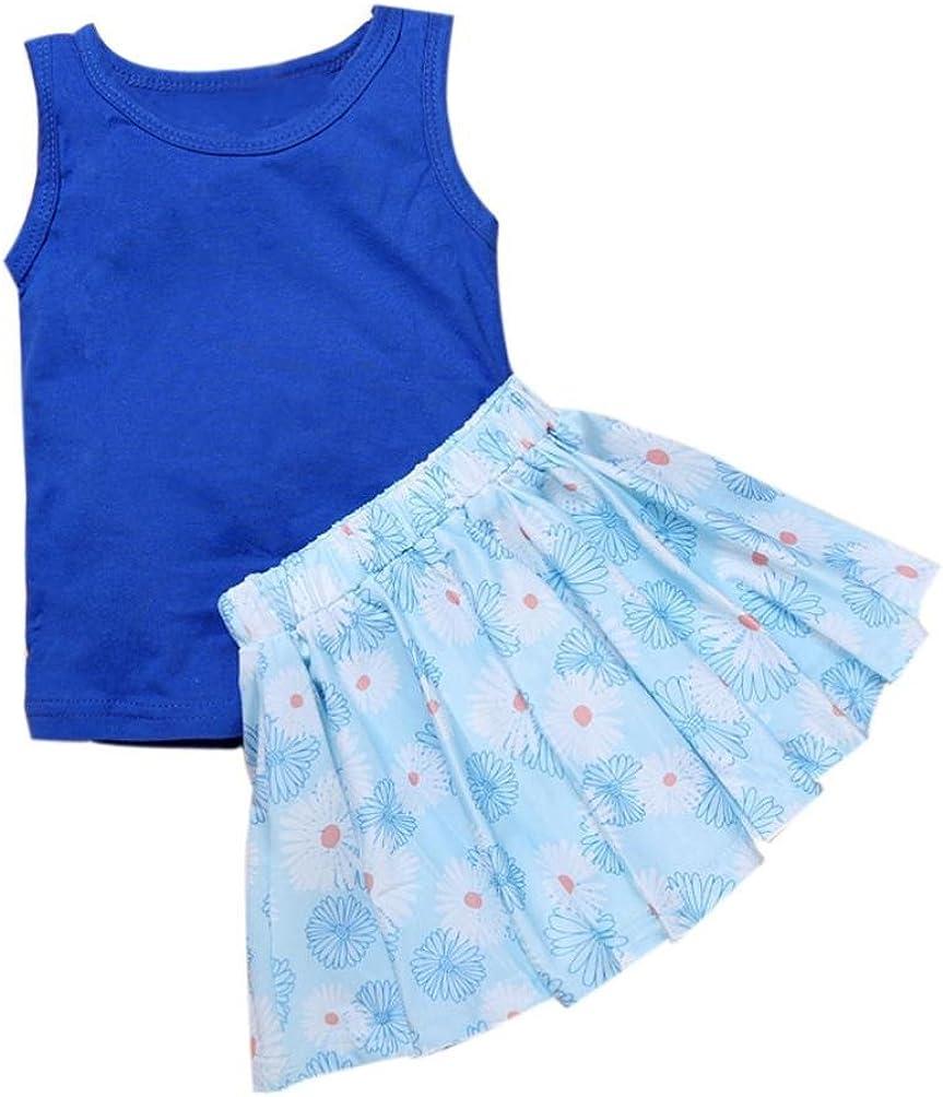 Fabal Baby Kids Girls Sleeveless Vest T-Shirt+Floral Short Dress Outfits Set Clothes