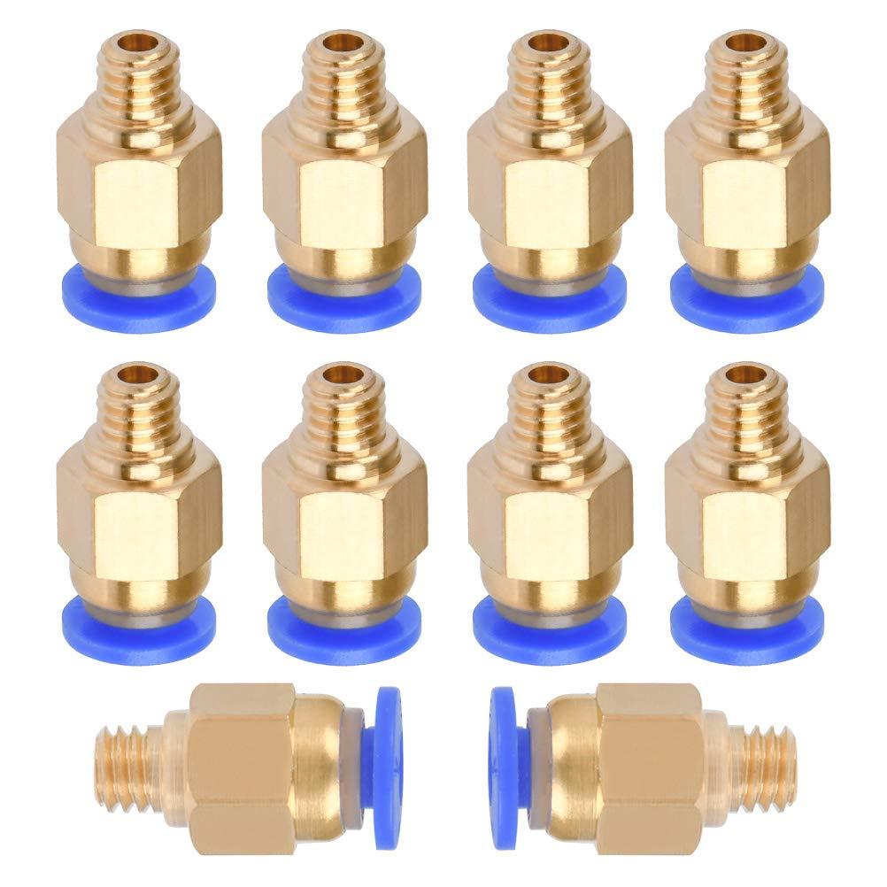 YOTINO 10 Pezzi Connettore Pneumatico PC4-M6 4mm Raccordo Rapido per Stampante 3D Hotend per Filamento 1.75mm