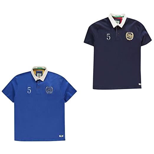 D555 Mens Judd Rugby Short Sleeve Shirt Polo Tee Top Cotton Button Placket Fold