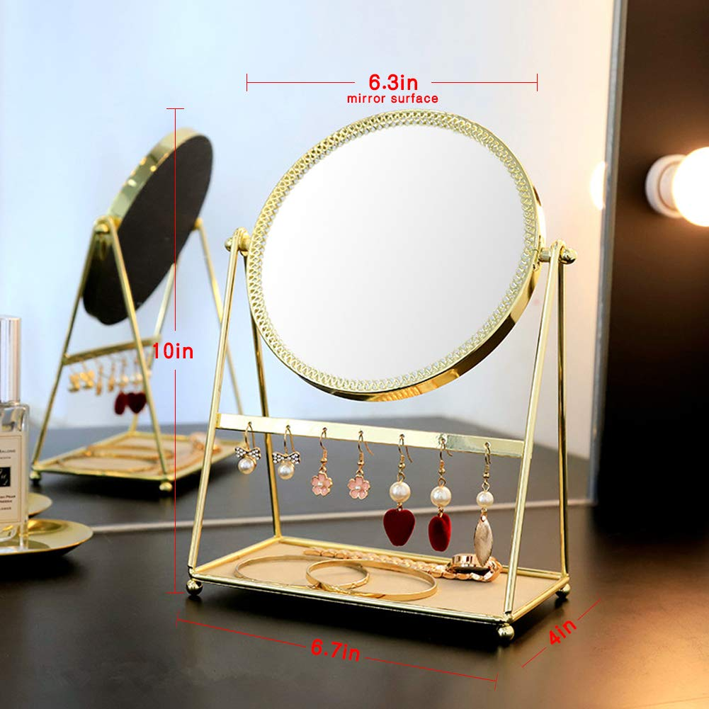 d42008002d7e GLODEALS Makeup Mirror,Decorative Vanity Mirror Tabletop Swivel Golden  Cosmetic Mirror with Jewelry Tray Earrings Holder