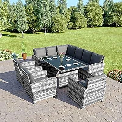 Abreo Rattan Corner Garden Sofa and Dining Table Set