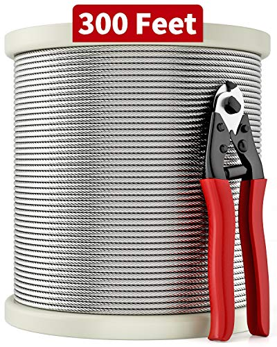 LuckIn 1/8 T316 Stainless Steel Cable with Cutter, Aircraft Cable for Deck Railing, 7 x 7 Strands Construction, 300FT