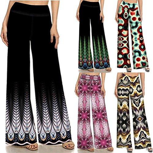 Libero High Pantaloni Fiore 3 Sciolto Chic Eleganti Cute Pantaloni Palazzo Stile Larghi Tempo Pantaloni Etnico Pantaloni Vintage Estivi Colour Donna Hippie Stampa Fashion Waist 8wqPf8d