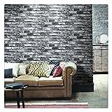 HaokHome 69092 PVC Vinyl Retro Vintage Faux Brick Wallpaper Black for Home Bar Wall Decoration Wall Paper 20.8'' x 393.7''