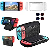 13 in 1 Nintendo Switch Case & Accessories Kit Comes with BOENFU Nintendo Switch Game Case, Screen Protector, Jon-Con Grips Caps, Controller Case, Sheets, Joy-Con Cases, Play Stand, Portable Strap