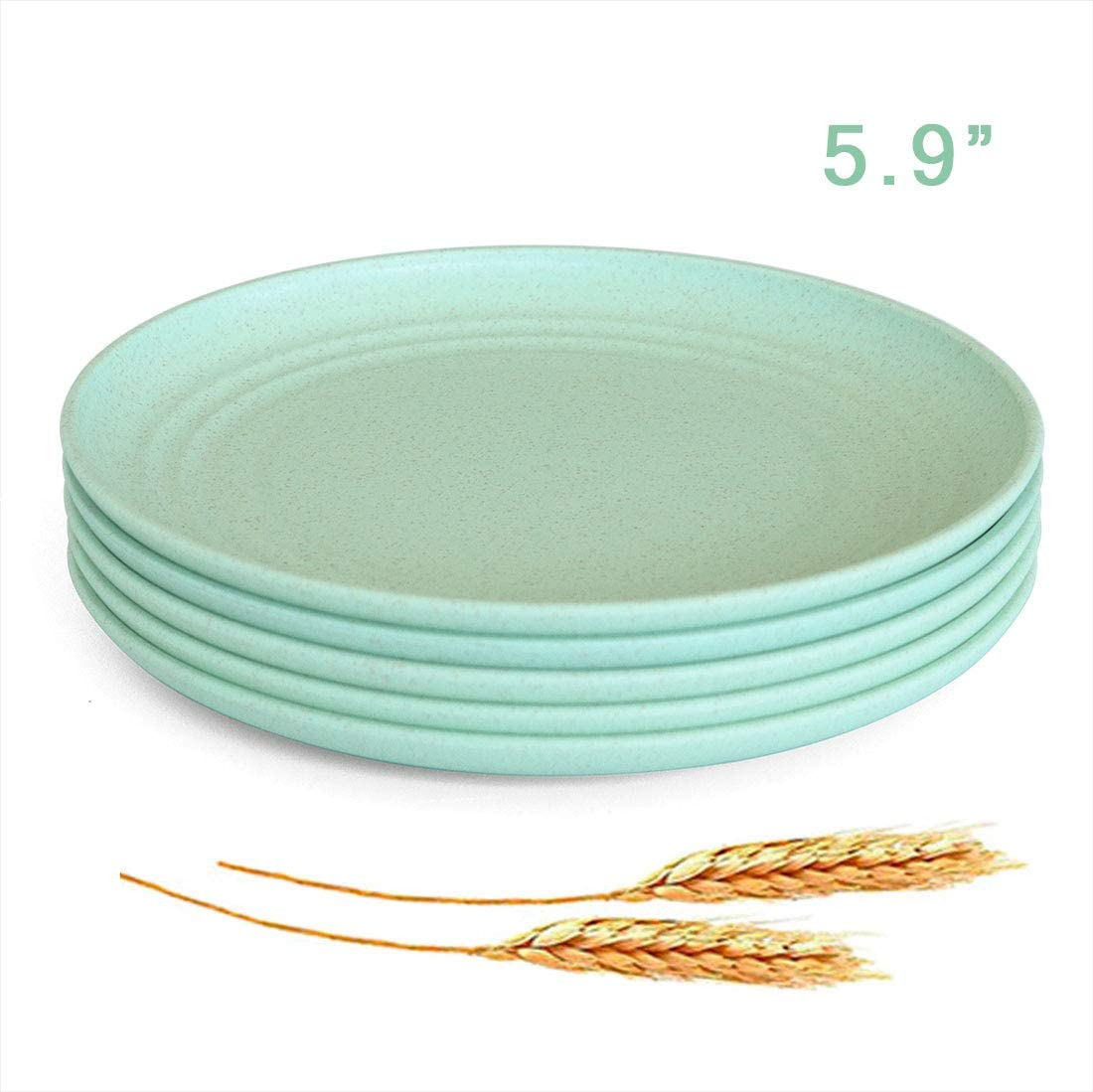 "Microwave Safe Wheat Straw Plates - 5 Pack 5.9"" Unbreakable Dessert Dish Sets, Small Plates for Kids,Children,Toddler, Lightweight & Degradable BPA free Dishwasher Safe Plates for Fruit Snack Containe"
