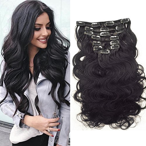 Clip in Remy Human Hair Extensions 10-22 inch Wavy Curly Human Hair Clip in Extension 120G 100% Brazilian Curly Hair For Black Women (20 inch, Body Wave)