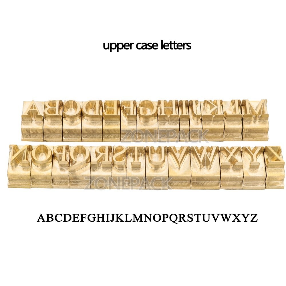 ZONEPACK Copper Brass Stamping Flexible Letters Numbers Alphabets Symbols Characters Molds CNC Engraving Molds for Hot Foil Stamping Machine Microsoft Elegant Black