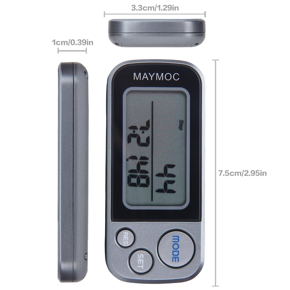 MAYMOC 3D Pedometer and Step Tracker for Walking Steps Miles//Km Accurate Portable Clip on Sports Fitness Daily Target Monitor Exercise Distance 30 Days Memory