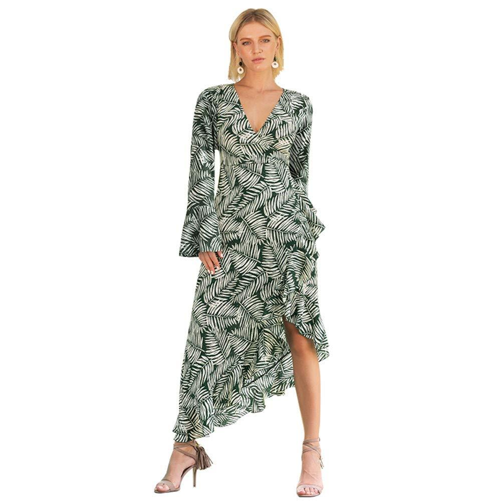 JESPER Woman Leaf V-Neck Horn Long Sleeve Irregular Hem Waist Belt Dress US 8/10 Green