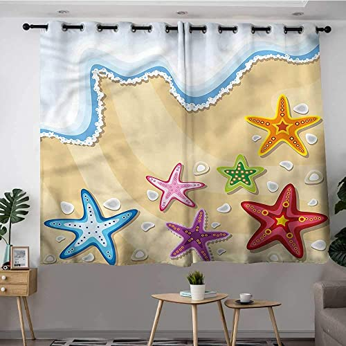Fbdace Ocean Grommet Curtains Coastal Theme with Sand Beach Hipster Patterned W 55 XL 72