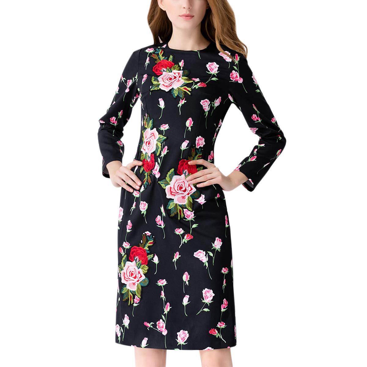 Black pink Embroidery ONeck Shirt Tie Waist Long Sleeve Silky Women's Midi Dress