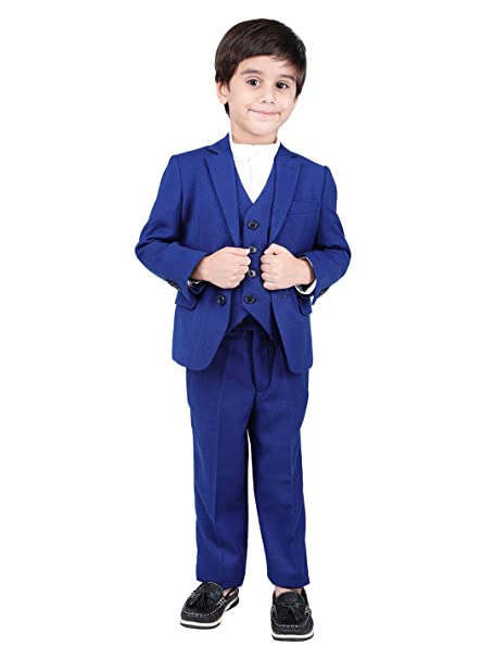 One Friday Cotton Full Sleeves Three Piece Suits for Boys Blazer Trouser  Waistcoat Set (3,4 Years)