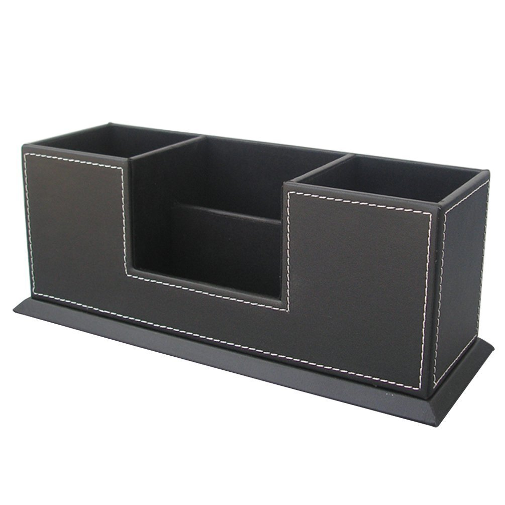 Amazon.com : KINGFOM Office Supplies Desk Organizer PU Leather Storage Box  4 Divided Compartments For Pen Business Card Remote Control Mobile Phone ...