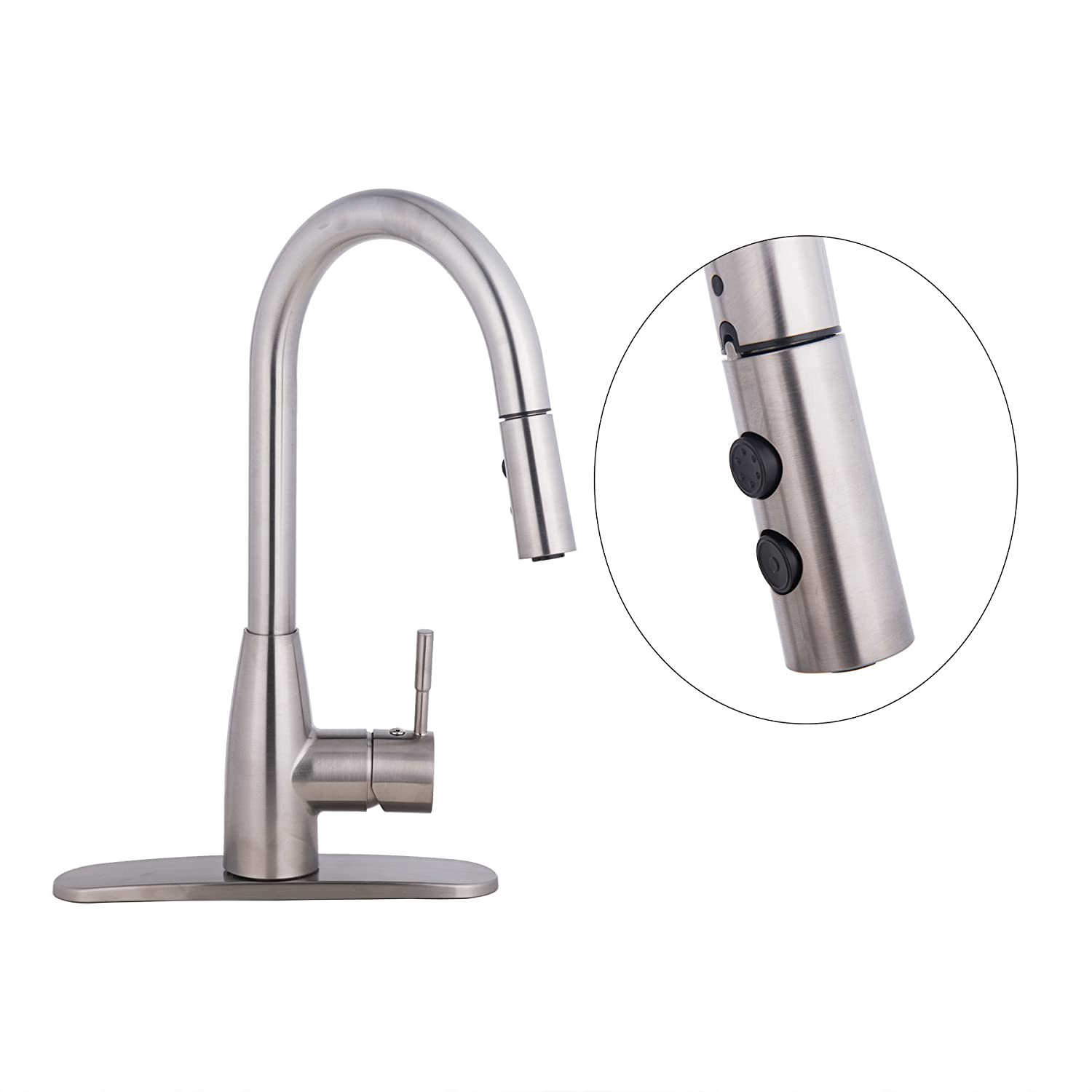 CO-Z Brushed Nickel Kitchen Sink Faucets with Pull Down Sprayer, 360 Swivel Single Handle Faucet with Pullout Sprayer, American Standard Water Faucet Fixtures for RV Kitchen Farmhouse Laundry