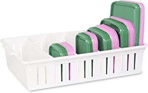 Lid Organizer for Food Storage Container, Bawuie Plastic Lid Holder with 4 Adjustable Dividers for Kitchen Pantry Cabinet and Drawer, Countertop Cupboard Lid Organization, Large, White