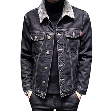 Young2 Men Thickened Oversized Plus Velvet Outwear Simple Denim